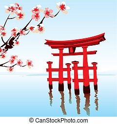 Japanese landscape - Morning on the lake with a red flooded...