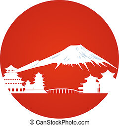 Japanese landscape - Japanese architecture and the mountain...