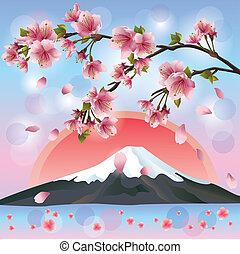 Japanese landscape with mountain and sakura blossom- Japanese cherry tree