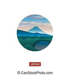 Japanese landscape with mountain Fuji. Discover the world nature background