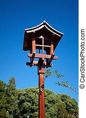 Japanese lantern on a background of blue sky