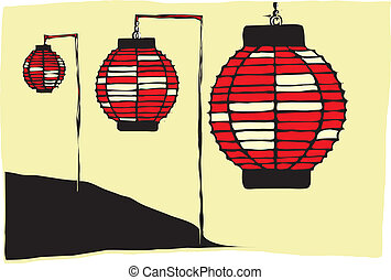 Japanese Lanterns - Three Paper Lanterns on a Japanese...