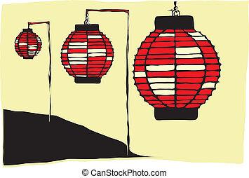 Three Paper Lanterns on a Japanese hillside.