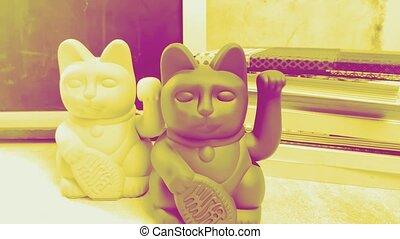 Modern Japanese lucky cat duotone yellow