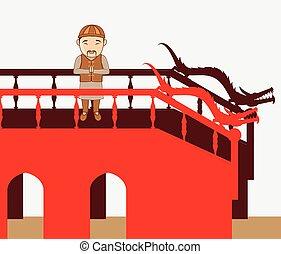 Japanese Man Praying on Bridge