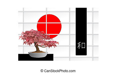 Japanese maple bonsai in front of a windows with red sun and...