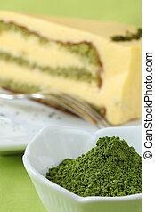 Japanese Matcha green tea powder and green tea cake