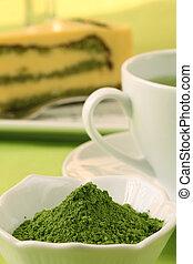 Japanese Matcha green tea powder, tea and cake