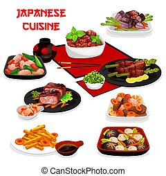Japanese meat, vegetable dishes with asian sauces - Japanese...