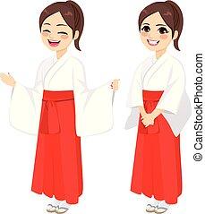 Japanese Miko Priestess Woman - Japanese girl wearing...