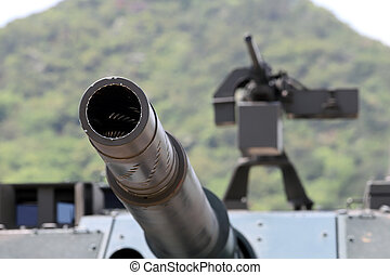 Japanese military cannon of tank