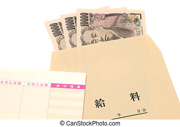 Japanese money and bankbook with salary bag isolated on white background