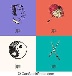 Japanese National Symbols Vector Icons Set