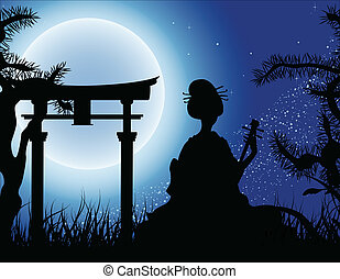 Japanese night, Geisha with Shamisen silhouette on...