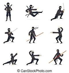 Japanese Ninja Assassin In Full Black Costume Performing...