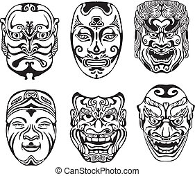 Japanese Nogaku Theatrical Masks. Set of black and white vector illustrations.