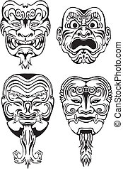 Japanese Noh Theatrical Masks. Set of black and white vector...