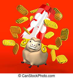 Old Coins And Sheep On Red - Japanese Old Coins And Sheep On...