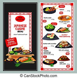 Japanese or asian cuisine restaurant menu template -...