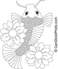 Japanese Koi Fish or Chinese Carp with Lotus Flower Line Art Illustration Isolated on White Background