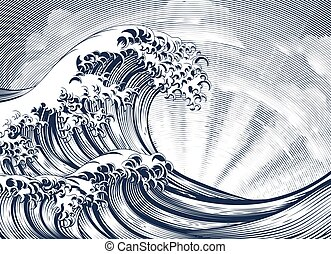 Japanese Oriental Wave Etching Engraved Woodcut - A vintage...