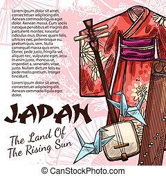 Japanese origami, kimono, koto and samisen - Japan travel...