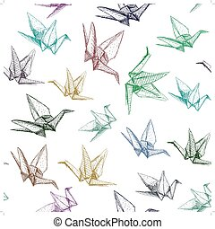 Japanese Origami paper cranes symbol of happiness, luck and...