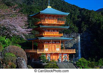 Japanese pagoda and Waterfall