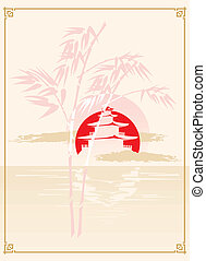 Japanese Pagoda, Bamboo and Sun - Background in japanese...