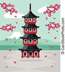 Japanese Pagoda at Spring with Mount Fuji in the Background....