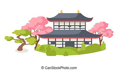 Japanese Pagoda In Cherry Blossom Flat Vector - Japanese...