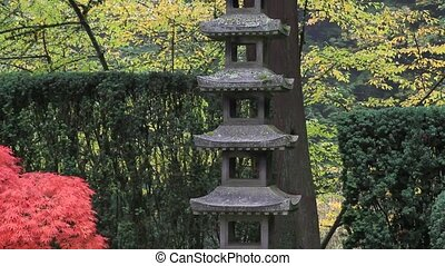 Japanese Pagoda Structure in Garden one Foggy Morning 1080p