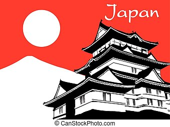 Japanese Pagoda Paint with brush on red background vector