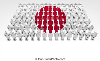 Japanese Parade - Parade of 3d people forming a top view of...
