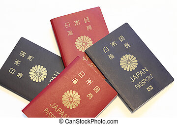 Japanese passports (red and blue)