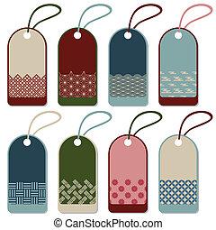Japanese pattern label set