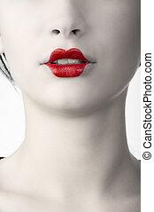 japanese portrait - desaturate color portrait of woman with...