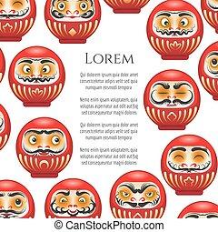 Japanese red daruma dolls poster
