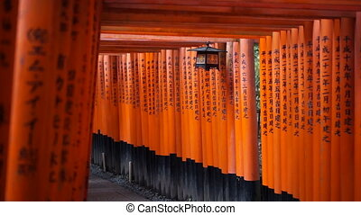 Japanese Red gate torii in Kyoto - Red gate torii at Fushimi...