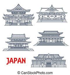 Japanese religious travel landmark, thin line