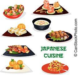 Japanese restaurant dinner icon of asian cuisine - Japanese...