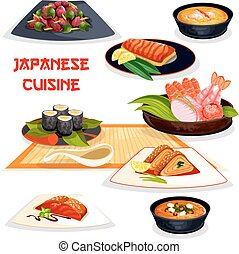 Japanese restaurant lunch dishes of asian cuisine....