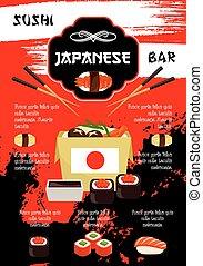 Japanese restaurant or sushi bar vector poster - Sushi bar...