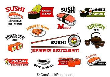 Japanese restaurant sushi menu vector icons - Sushi icons...