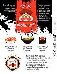 Japanese restaurant sushi menu vector poster - Sushi...