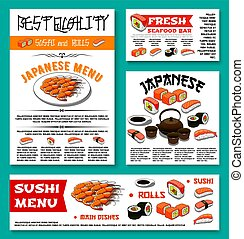 Japanese restaurant sushi menu vector templates - Sushi bar...