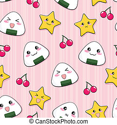 japanese rice ball pattern - seamless pattern with cute...