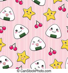 japanese rice ball pattern - seamless pattern with cute...