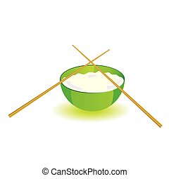 japanese rice bowl with sticks vector illustration part two