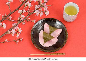 Japanese rice cake dessert - Japanese rice cake covered with...